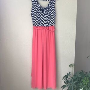 Chevron and peach maxi dress